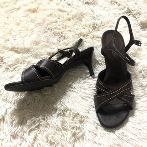 Brown kitten heel sandals